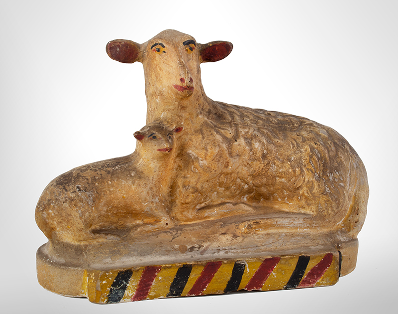 Antique Chalkware, Recumbent Sheep & Lamb America, likely Pennsylvania, late 19th century, entire view