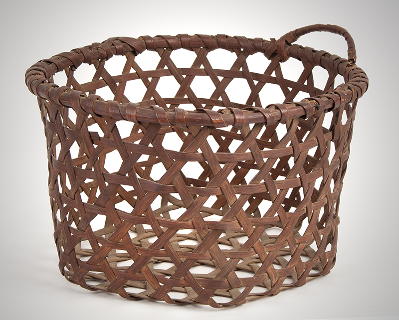 Cheese Basket, Deep Form, Round Rim, Hexagonal Base, Best Color & Patina Round, entire view