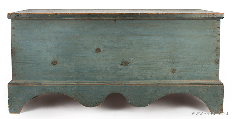Antique Blanket Chest in Blue Paint, Boldly Shaped Base Profile, Original Surface New England, Circa 1820, entire view