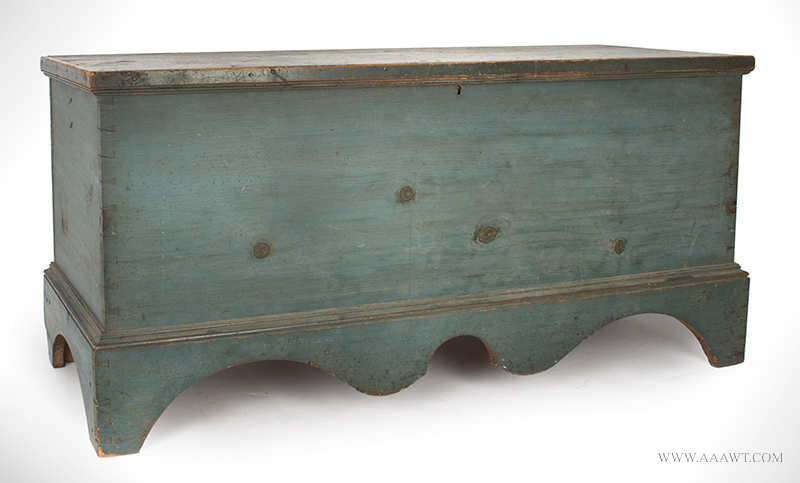 Antique Blanket Chest in Blue Paint, Boldly Shaped Base Profile, Original Surface New England, Circa 1820, angle view