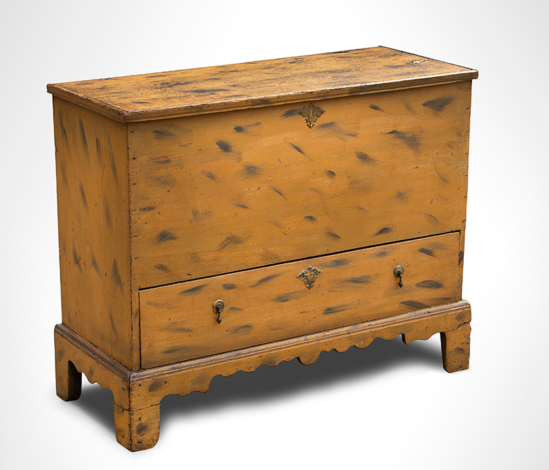 Period Paint Decorated 18th Century Blanket Chest with Drawer, Historic Surface New England, First-half 18th Century White pine, entire view 3