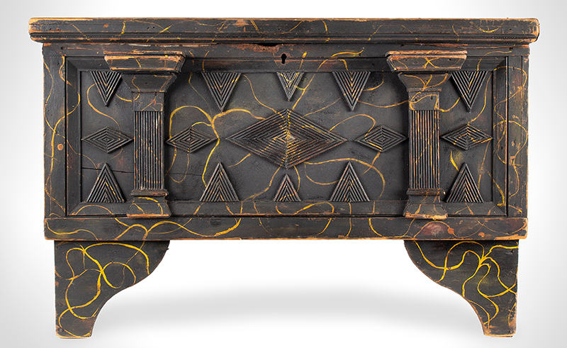 Antique Folk Art Paint Decorated Blanket Chest, Matchstick Molding, Small Size New Jersey or Hudson River Valley Circa 1820-1830 Tulip Poplar  Abstract decoration…lightning, applied geometric molding in the New Jersey Tradition, entire view 1