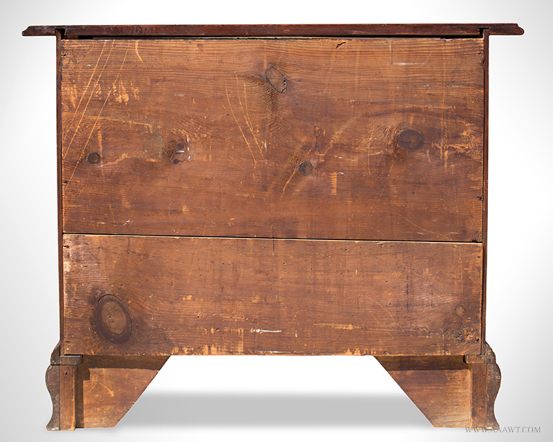 Fine and Rare Massachusetts Chippendale Carved Cherry Oxbow Serpentine Chest of Drawers In the Circle of Benjamin Frothingham, Charlestown, Massachusetts, Circa 1760-1780, back view