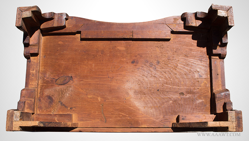 Fine and Rare Massachusetts Chippendale Carved Cherry Oxbow Serpentine Chest of Drawers In the Circle of Benjamin Frothingham, Charlestown, Massachusetts, Circa 1760-1780, bottom view