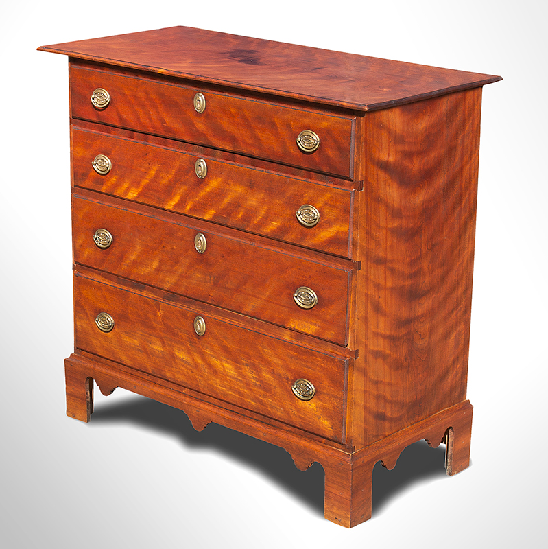 Chippendale Four Drawer Chest, Flame Birch, Original Brass & Red Stain Likely Claremont or Walpole, New Hampshire (Based on construction related to others in group) Birch and white pine Circa 1780, entire view 2