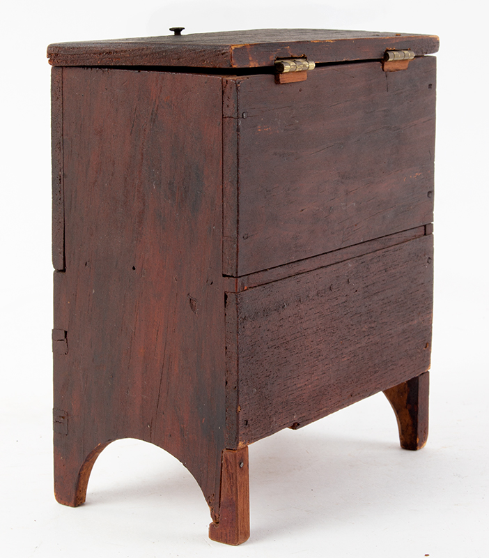 Miniature Mule Chest, Blanket Chest, Original & Dry Red New England, Early 19th Century, entire view 3