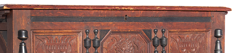 Extremely Rare, Important & Fine Carved & Joined Chest, Attributed to Peter Blin Wethersfield, Connecticut Circa 1670-1700 A rare and fine carved and joined oak and pine chest over two drawers, detail view 1