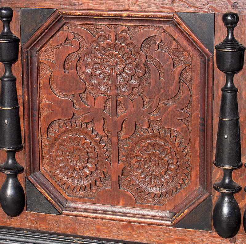 Extremely Rare, Important & Fine Carved & Joined Chest, Attributed to Peter Blin Wethersfield, Connecticut Circa 1670-1700 A rare and fine carved and joined oak and pine chest over two drawers, pannel 3