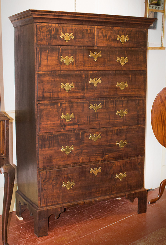 Rhode Island Tall Chest, Tiger Maple Drawer Fronts, Original Brasses, 7-Drawer Circa 1780