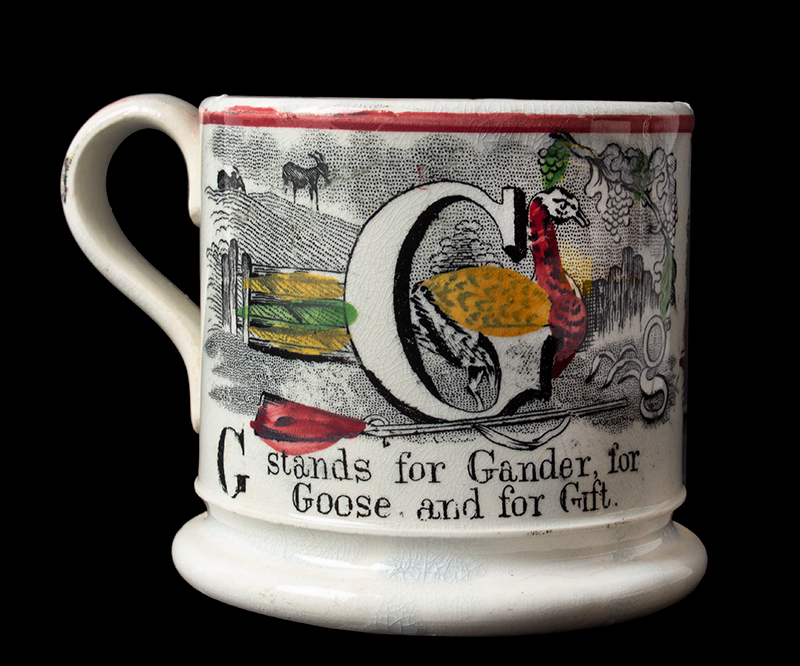 Antique ABC Child's Mug, G&H, Transfer, Hand Painted  England, 19th century, entire view 2