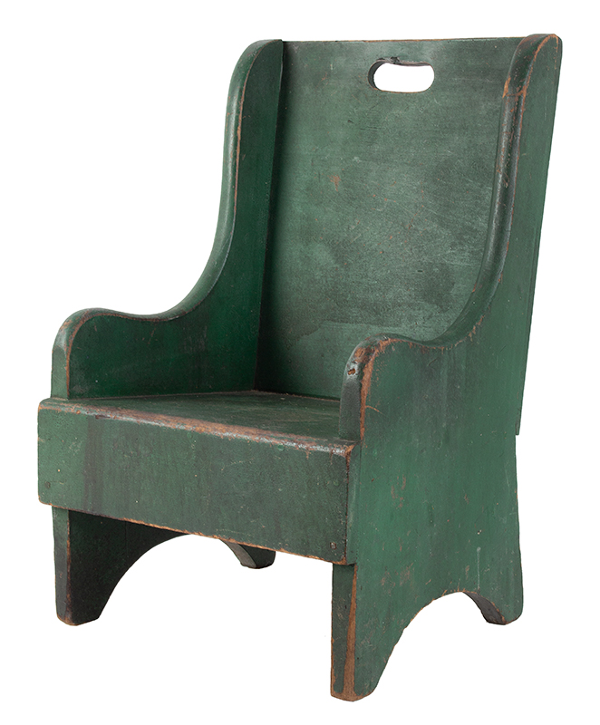 19th Century Child's Wing Back Chair, Green Paint New England Poplar, best green paint, entire view 1