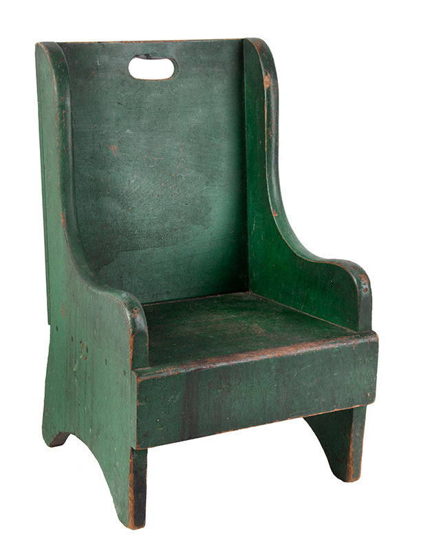 19th Century Child's Wing Back Chair, Green Paint New England Poplar, best green paint, entire view 2