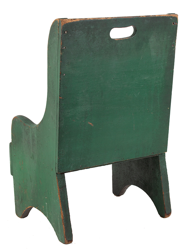 19th Century Child's Wing Back Chair, Green Paint New England Poplar, best green paint, entire view 3