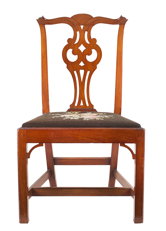 Six Chippendale Cross-Eyed Owl Splat Side Chairs, Salem-Marblehead, Massachusetts 18th Century, front view
