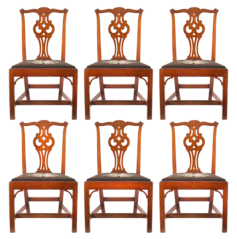 Six Chippendale Cross-Eyed Owl Splat Side Chairs, Salem-Marblehead, Massachusetts 18th Century, entire view