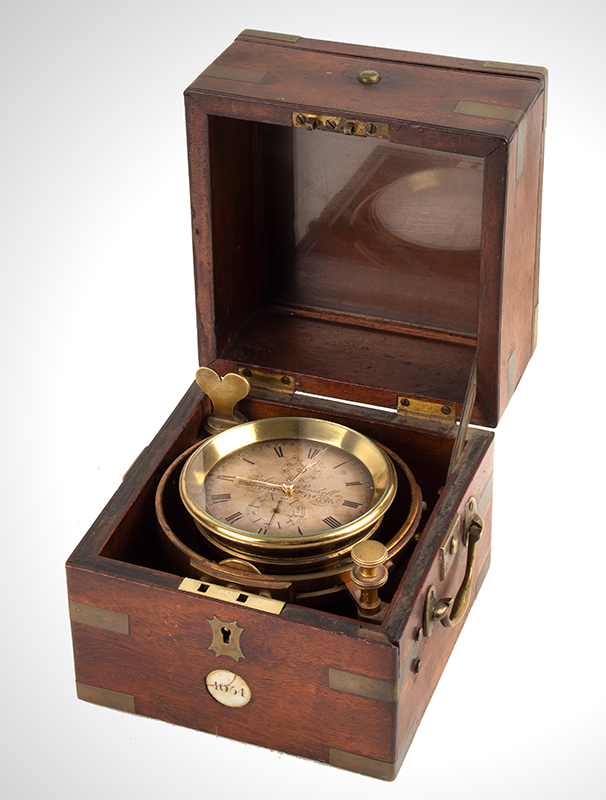 Robert Roskell Early Marine Box Chronometer, Gold Hands, Silvered Dial Liverpool, England, circa 1839, entire view