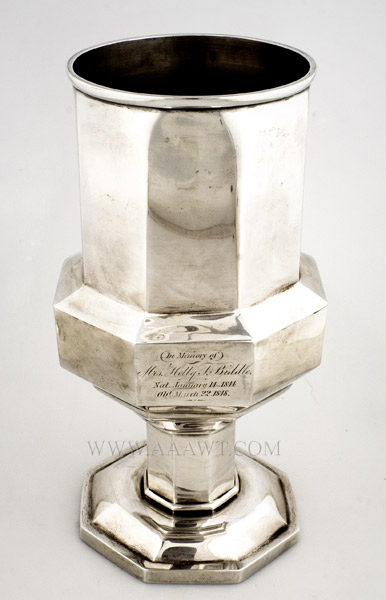 Coin Silver Memorial Chalice, Philadelphia, Pennsylvania Taylor & Lawrie (1837-1850), Retailed by Bailey & Company Circa 1848, angle view
