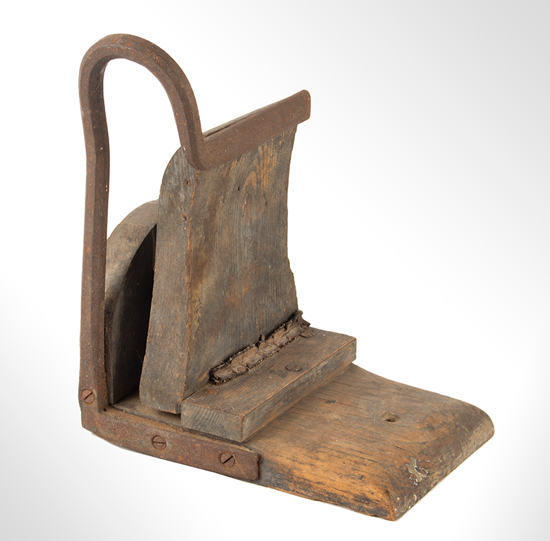 Early Shaker Vice Clamp, Wood and Wrought Iron, Original Thinning Blue Paint From the Seed House, Tyringham, Massachusetts, Ex Jean Brown Collection Ash and maple, entire view 1