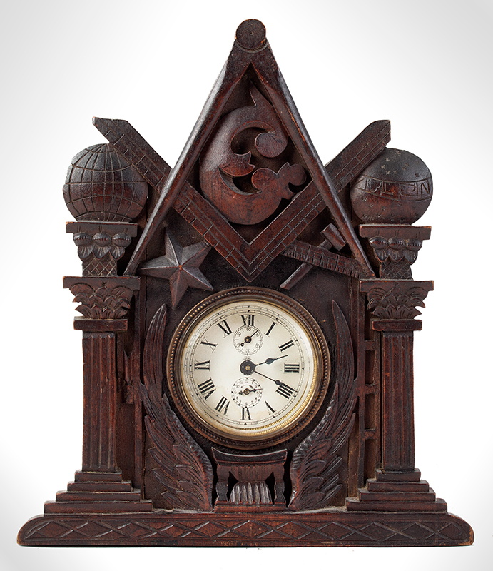 John Haley Bellamy Carved Shelf Clock Titcomb & Bellamy, Manufactures of Emblematic Frames & Brackets 11 City Square, Charlestown, Massachusetts, Circa 1870, entire view 1