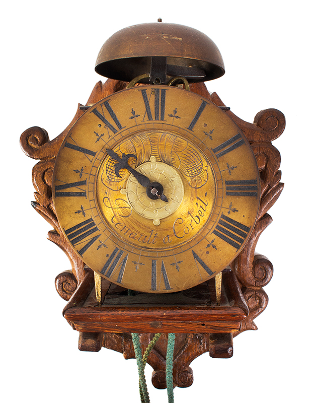 18th Century Lantern Clock, Chamber Alarm Timepiece  Made by Clockmaker Renault, Corbeil, France, entire view 1