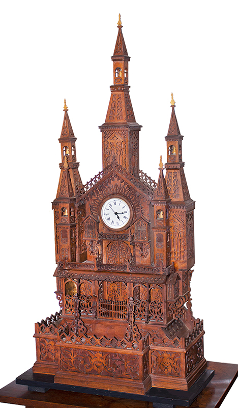 Scroll Saw Fretwork Cathedral-Form Clock, Three Spires, Gingerbread Anonymous Maker, Circa 1880 to 1910ish, entire view