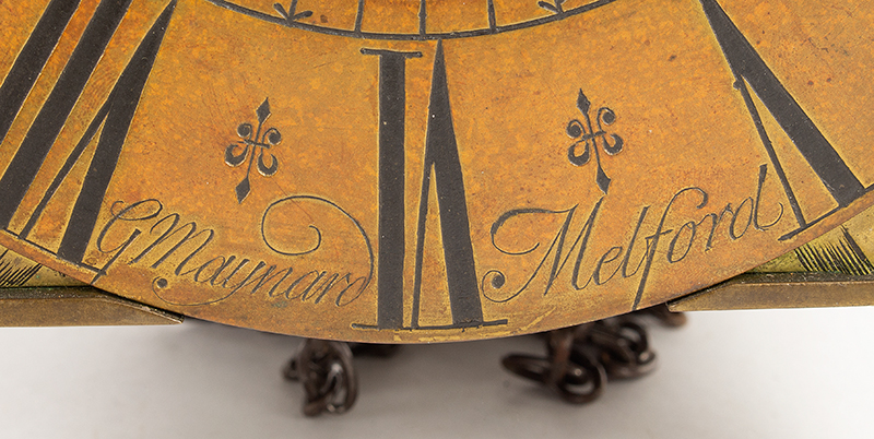 Antique Lantern Clock, G. Maynard, Melford  George Maynard, Long  Melford, detail view
