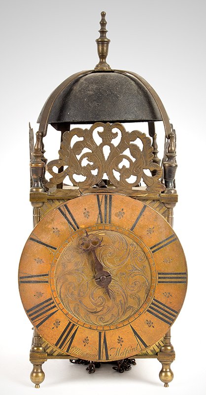 Antique Lantern Clock, G. Maynard, Melford  George Maynard, Long  Melford, entire view