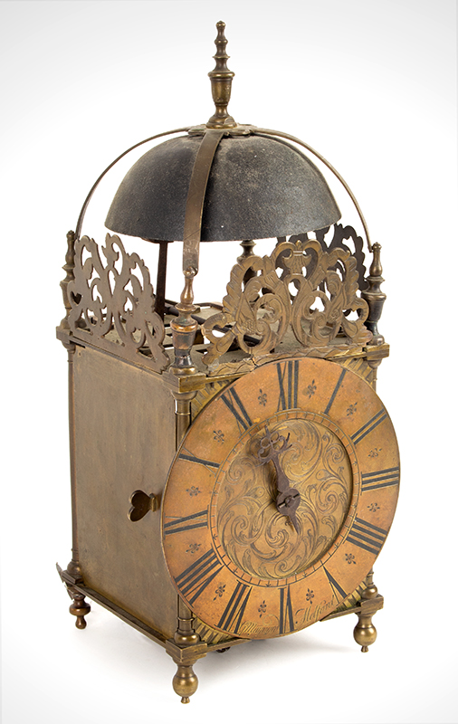 Antique Lantern Clock, G. Maynard, Melford  George Maynard, Long  Melford, angle view 1