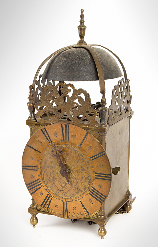 Antique Lantern Clock, G. Maynard, Melford  George Maynard, Long  Melford, angle view 2