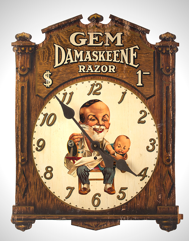 Advertising Clock, GEM Damaskeene Razor, Ugly Baby Gem Cutlery Company, New York, NY, Circa 1905-1925 Known as the Ugly Baby Clock, entire view