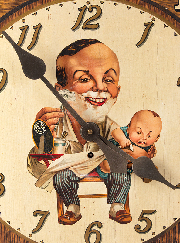 Advertising Clock, GEM Damaskeene Razor, Ugly Baby Gem Cutlery Company, New York, NY, Circa 1905-1925 Known as the Ugly Baby Clock, front detail