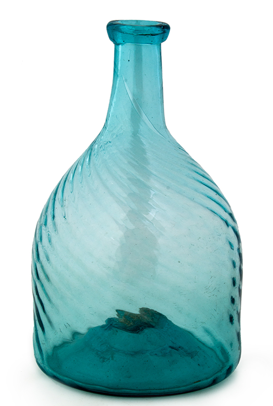 Antique Club Bottle, Molded, Swirled Ribs, Rich Aqua Likely Zanesville, Ohio, circa 1820-1840, entire view