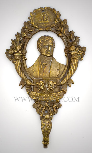 Sir Robert Peel Brass Coat Hook, Cast Portrait English Statesman (1788 to 1850) 19th Century, entire view