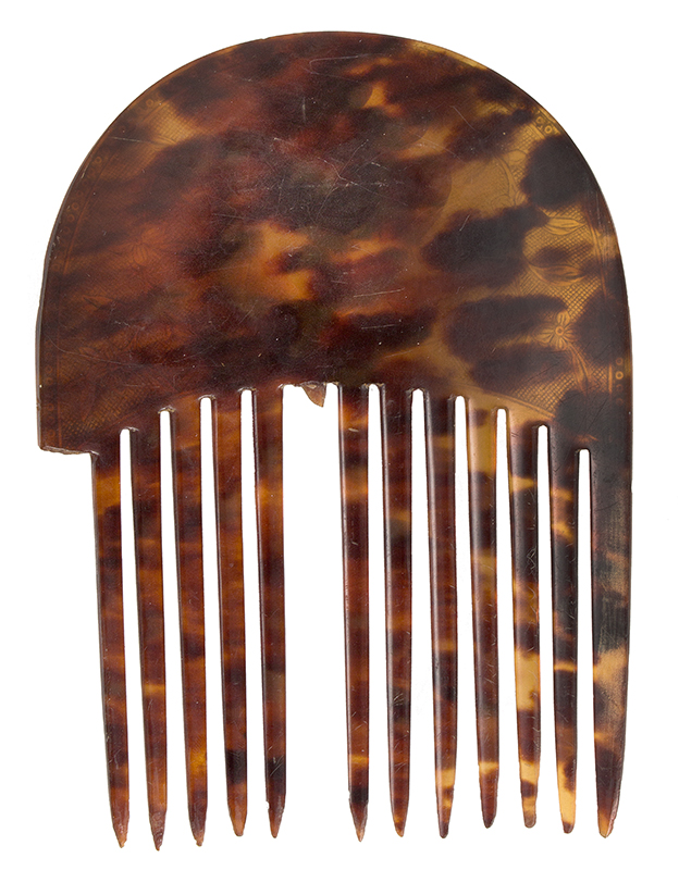 Antique Tortoise Shell Backcomb, 18th Century Hair Ornament