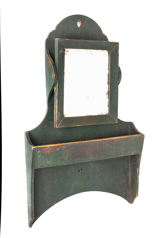 Antique Wall Box with Mirror, Comb Box, Original Green Paint American, Anonymous, 19th Century White Pine, angle view 1