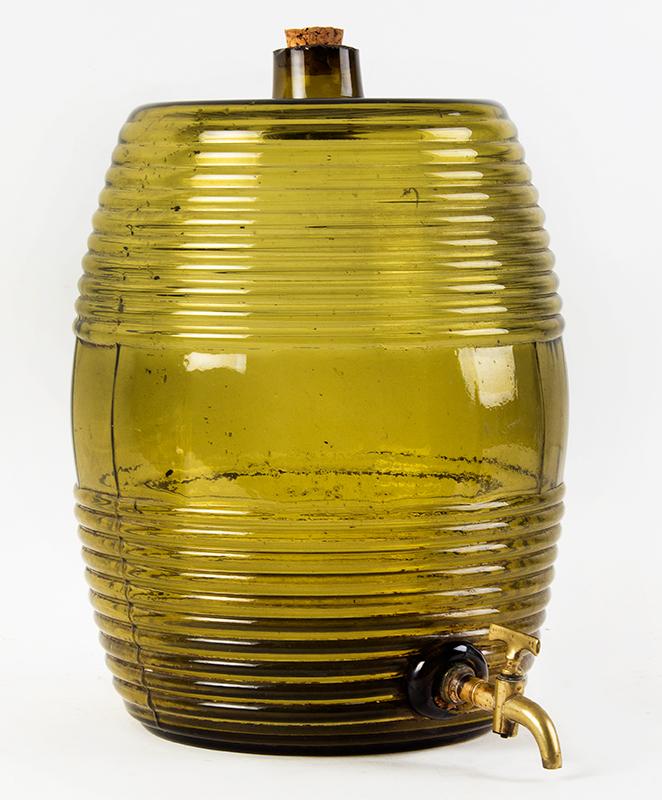 Blown Glass Storage Barrel, Keg, Cooler, Dispenser  Unknown Maker, 19th Century, Medium Olive-Amber Possibly France, entire view 1
