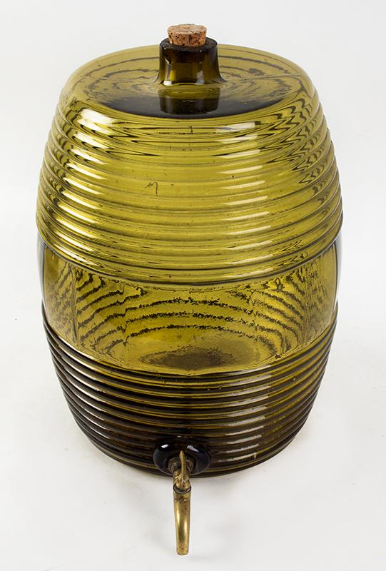 Blown Glass Storage Barrel, Keg, Cooler, Dispenser  Unknown Maker, 19th Century, Medium Olive-Amber Possibly France, entire view 2