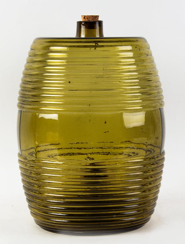 Blown Glass Storage Barrel, Keg, Cooler, Dispenser  Unknown Maker, 19th Century, Medium Olive-Amber Possibly France, entire view 3