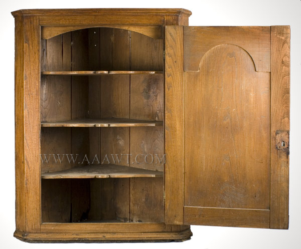 18th Century Hanging Corner Cupboard England, open view