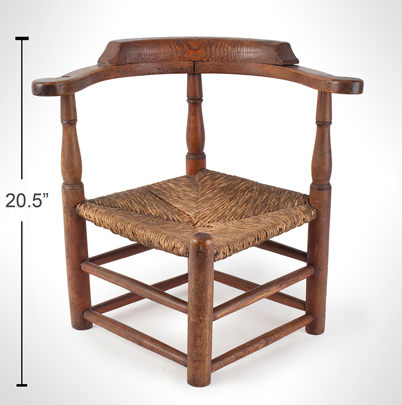 Child's Corner Chair, Youth's Round-A-Bout, RARE New England, 18th Century Maple and pine We have never seen another, scale view