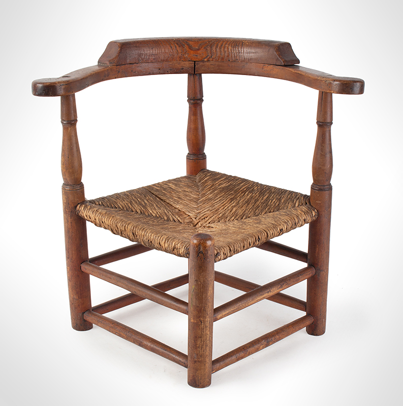 Child's Corner Chair, Youth's Round-A-Bout, RARE New England, 18th Century Maple and pine We have never seen another, entire view 2