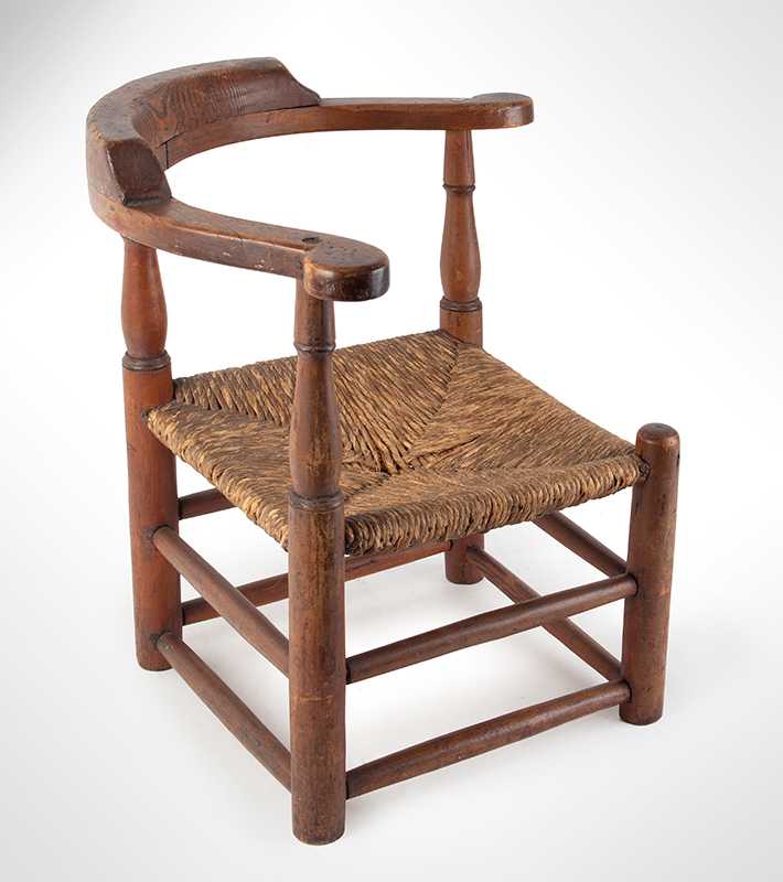 Child's Corner Chair, Youth's Round-A-Bout, RARE New England, 18th Century Maple and pine We have never seen another, entire view 3