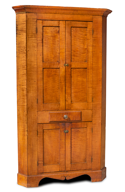 Antique, Corner Cupboard, Tiger Maple, Original Condition   Likely Pennsylvania, circa 1810 Strong curly maple, walnut, and poplar secondary woods; original hardware, entire view 1