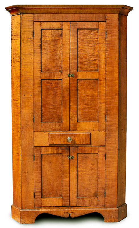 Antique, Corner Cupboard, Tiger Maple, Original Condition   Likely Pennsylvania, circa 1810 Strong curly maple, walnut, and poplar secondary woods; original hardware, entire view 2