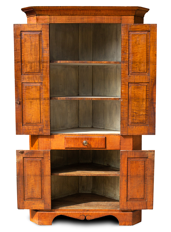 Antique, Corner Cupboard, Tiger Maple, Original Condition   Likely Pennsylvania, circa 1810 Strong curly maple, walnut, and poplar secondary woods; original hardware, entire view 3