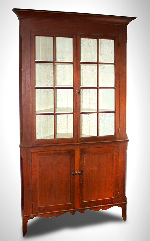 Antique, Hepplewhite Cherrywood Corner Cupboard, Glazed Top, French Feet Ohio River Valley, circa 1810 Cherrywood, appears to be original surface, one-piece case, entire view