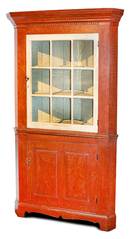 Cupboard, Corner, Paint Decorated, Glazed Door, Molded Cornice, Paneled Doors, Full View