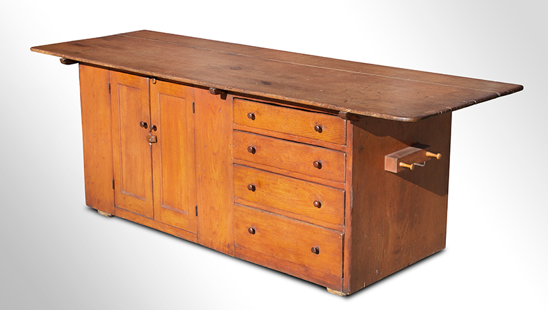 Antique, Shaker Work Counter, Mount Lebanon, New York, circa 1810-1830 EX Jean Brown Shaker Collection Birch top, pine case & secondary woods, cherry mushroom pegs & pulls, entire view 1