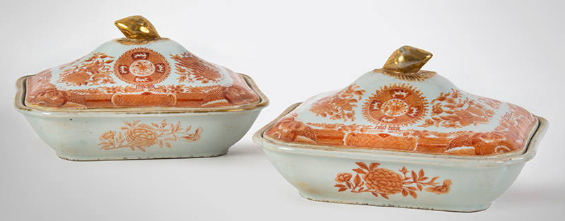 Chinese Export Porcelain, Fitzhugh, Orange & White Vegetable Dishes & Covers Circa 1800-1840, entire view