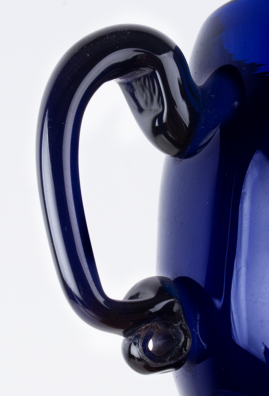 18th Century American Free Blown Handled & Footed Covered Sugar, Cobalt Unknown maker, circa 1780, detail view